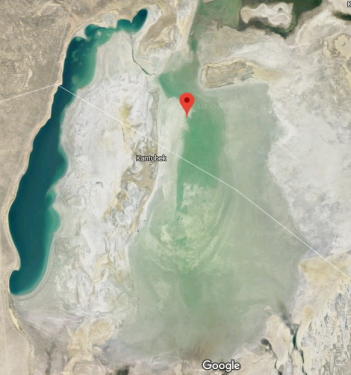 Satellite image of Aral Sea.